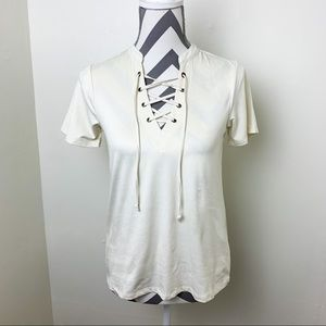 Z Supply suede lace up short sleeve top ivory XS